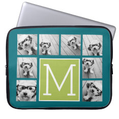 Instagram Photo Collage Monogram - Blue and Lime Computer Sleeve at Zazzle