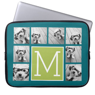 Instagram Photo Collage Monogram - Blue and Lime Computer Sleeve