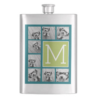 Instagram Photo Collage Monogram - Blue and Lime Hip Flask