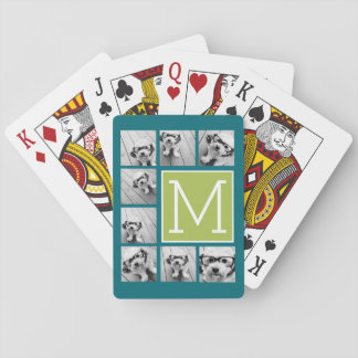 Instagram Photo Collage Monogram - Blue and Lime Playing Cards
