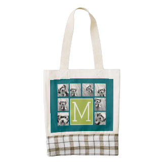 Instagram Photo Collage Monogram - Blue and Lime Zazzle HEART Tote Bag