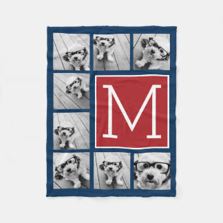 Instagram Photo Collage Monogram - Blue and Red Fleece Blanket