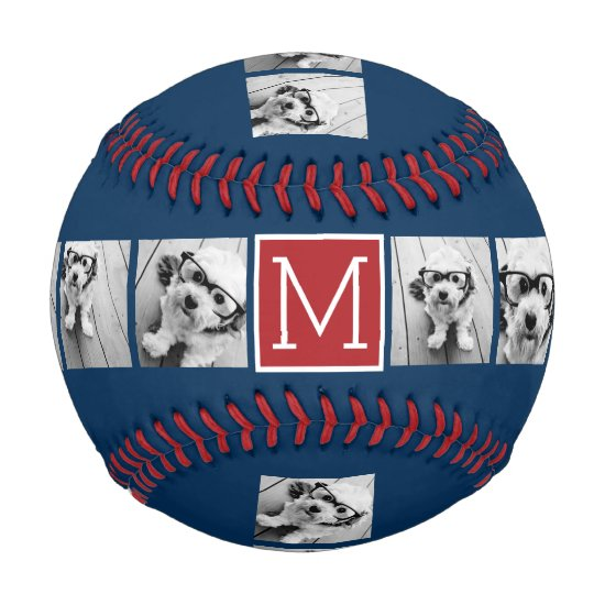 Instagram Photo Collage Monograms - Blue and Red Baseball