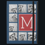 """Instagram Photo Collage Monograms - Red Navy iPad Pro 12.9&quot; Case<br><div class=""""desc"""">Use square or selfie photos for this design. Use 8 square photos to create a unique and personal gift. Or you can keep the hipster puppy and make a trendy keepsake. If you need to adjust the pictures,  click on the customize tool to make changes.</div>"""