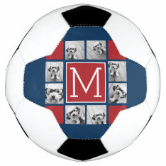 Instagram Photo Collage Monograms - Red Navy Soccer Ball at Zazzle