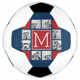 Instagram Photo Collage Monograms - Red Navy Soccer Ball