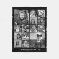 Instagram Photo Collage - Up to 14 photos Black Fleece Blanket