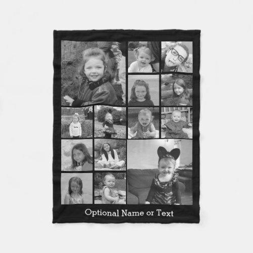 Instagram Photo Collage _ Up to 14 photos Black Fleece Blanket