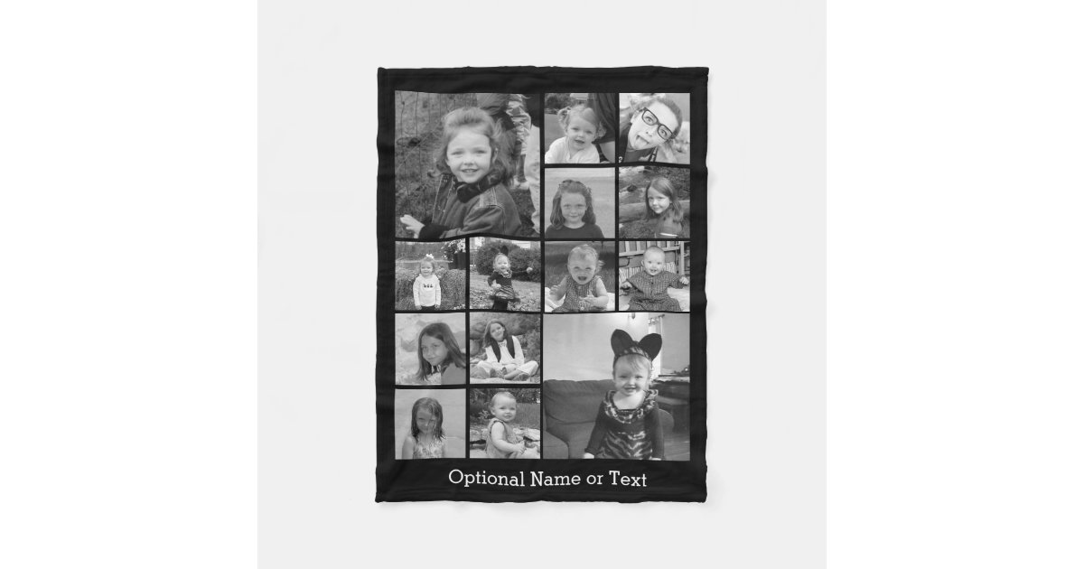 Instagram Photo Collage - Up to 14 photos Black Fleece Blanket ...