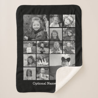 Instagram Photo Collage - Up to 14 photos Black Sherpa Blanket