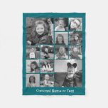 Instagram Photo Collage - Up To 14 Photos Blue Fleece Blanket at Zazzle