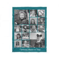 Instagram Photo Collage - Up to 14 photos Blue Fleece Blanket