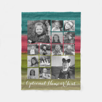 Instagram Photo Collage - Up to 14 photos Colorful Fleece Blanket