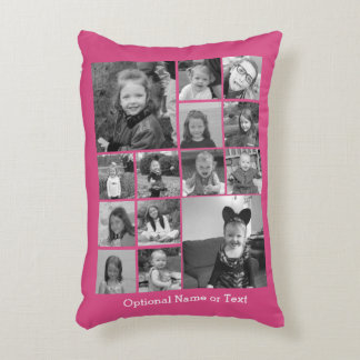 Instagram Photo Collage - Up to 14 photos Pink Accent Pillow