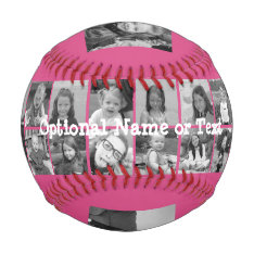 Instagram Photo Collage - Up To 14 Photos Pink Baseball at Zazzle