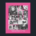 """Instagram Photo Collage - Up to 14 photos Pink Canvas Print<br><div class=""""desc"""">A design with a colorful background. Use up to fourteen square photos to create a unique and personal gift. If you need to adjust the pictures,  click on the customize tool to make changes.</div>"""