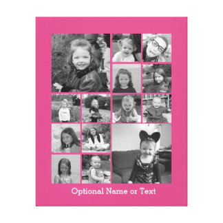 Instagram Photo Collage - Up to 14 photos Pink Canvas Print