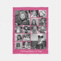 Instagram Photo Collage - Up to 14 photos Pink Fleece Blanket