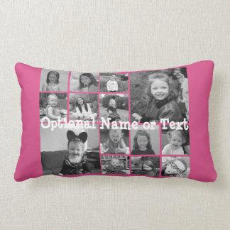 Instagram Photo Collage - Up to 14 photos Pink Lumbar Pillow