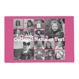 Instagram Photo Collage - Up to 14 photos Pink Placemat
