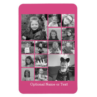 Instagram Photo Collage - Up to 14 photos Pink Rectangular Photo Magnet