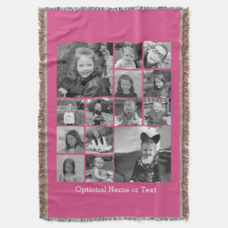 Instagram Photo Collage - Up to 14 photos Pink Throw