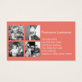 Instagram Photo Collage with 4 pictures - coral Business Card