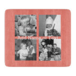 Instagram Photo Collage with 4 pictures - coral Cutting Board
