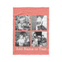 Instagram Photo Collage with 4 pictures - coral Fleece Blanket
