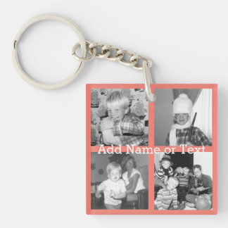 Instagram Photo Collage with 4 pictures - coral Keychain