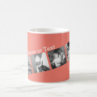 Instagram Photo Collage with 4 pictures - coral Classic White Coffee Mug