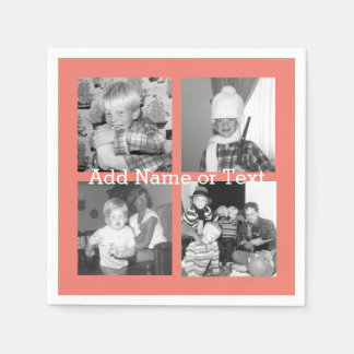 Instagram Photo Collage with 4 pictures - coral Napkin