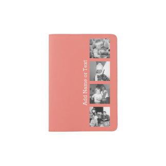 Instagram Photo Collage with 4 pictures - coral Passport Holder