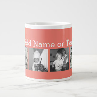 Instagram Photo Collage with 4 pictures - coral 20 Oz Large Ceramic Coffee Mug