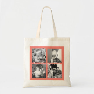 Instagram Photo Collage with 4 pictures - coral Tote Bag