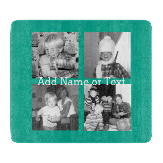 Instagram Photo Collage with 4 pictures - emerald Cutting Board