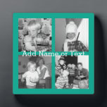 """Instagram Photo Collage with 4 pictures - emerald Plaque<br><div class=""""desc"""">Use four square photos to create a unique and personal gift. Or you can keep the hipster puppy and make a trendy keepsake. If you need to adjust the pictures,  click on the customize tool to make changes.</div>"""