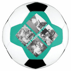 Instagram Photo Collage With 4 Pictures - Emerald Soccer Ball at Zazzle