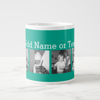 Instagram Photo Collage with 4 pictures - emerald 20 Oz Large Ceramic Coffee Mug