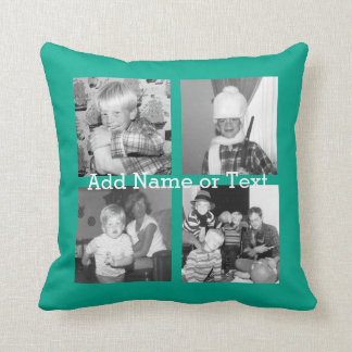 Instagram Photo Collage with 4 pictures - emerald Throw Pillow