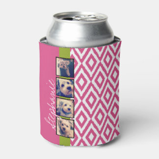 Instagram Photo Collage with Ikat hot pink name Can Cooler