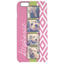 Instagram Photo Collage with Ikat hot pink name Clear iPhone 6 Plus Case