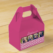 Instagram Photo Collage with Ikat hot pink name Favor Box