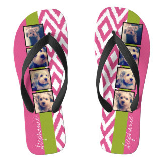 Instagram Photo Collage with Ikat hot pink name Flip Flops