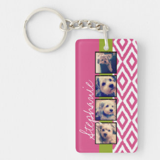 Instagram Photo Collage with Ikat hot pink name Keychain