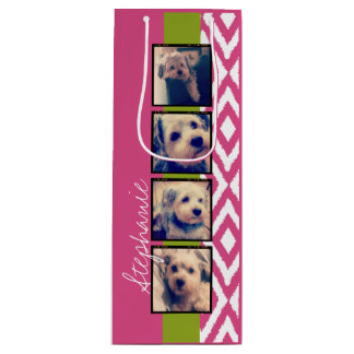 Instagram Photo Collage with Ikat hot pink name Wine Gift Bag