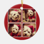 Instagram Photo Collage with Merry Christmas Double-Sided Ceramic Round Christmas Ornament