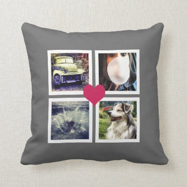 Instagram Photo Collage with Pink Heart Pillow