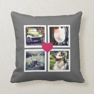 Instagram Photo Collage with Pink Heart Throw Pillow