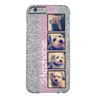 Instagram Photo Display - 4 photos fake glitter Barely There iPhone 6 Case